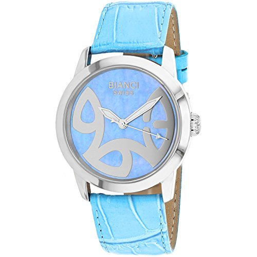 ROBERTO BIANCI WATCHES Women's 'Amadeus' Swiss Quartz Stainless Steel and Leather Casual Watch, Color:Blue (Model: RB18585)