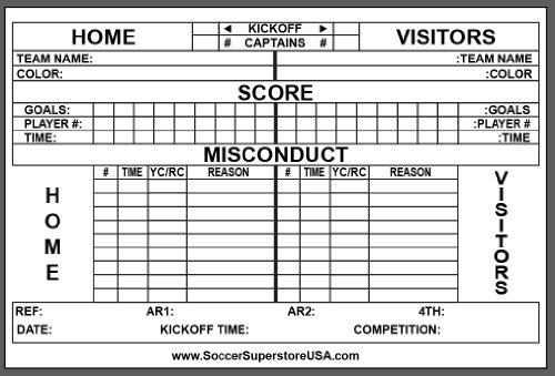 Amazon PRO Soccer Referee Score Sheets set of 50 Coach – Sample Football Score Sheet