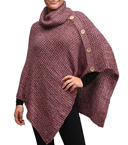 MIRMARU Women's Turtleneck Knitted Poncho Pullovers Sweater Cape with Button ()