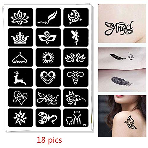 Henna Stencils 18 pics Henna Tattoo Stencils DIY Jagua Drawing Templates Airbrush Mehndi Body Art Small Flash Tatoo Stencil - Mehndi Body