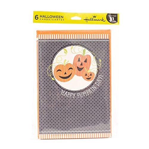 Hallmark Halloween Card Assortment (6 cards, 6 envelopes Three Pumpkins)