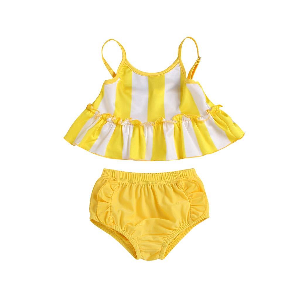 Nevera Girls Stripe Spaghetti Tankini Swimsuit Swimwear Summer Swim Bathing Suit Yellow