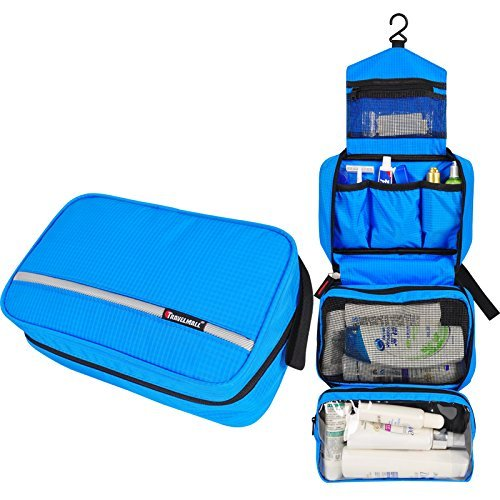 Travelmall Toiletry Bags Hanging Travel Kit Organizer Cosmetic Pouch Business Handbag Bathroom Storage Christmas Gifts Blue Image