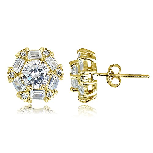 (Hoops & Loops Yellow Gold Flash Sterling Silver 4.38ct Cubic Zicronia Baguette-Cut Flower Stud Earring)