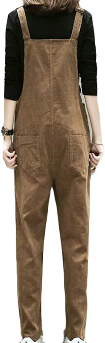 YUELANDE Women Plus Size Loose Fit Suspender Solid Color Casual Skinny Jumpsuit