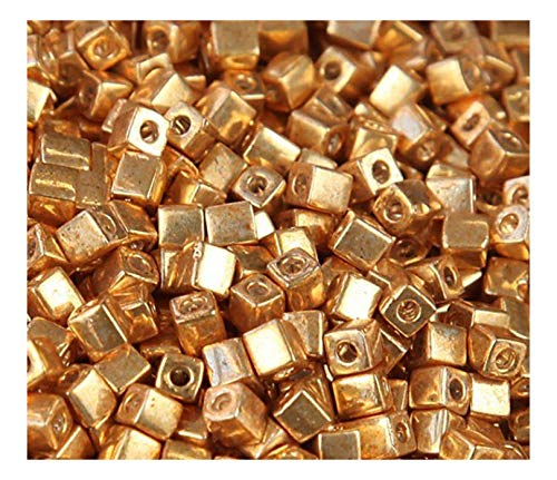 (20 Grams Metallic Gold Miyuki 4mm Square Cube Japanese Glass Seed)