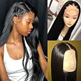 Dalisi Wigs 360 Lace Frontal Wig Silky Straight Brazilian Virgin Human Hair 13x6 Lace Wigs Pre Plucked with Baby Hair 150% Density Natural Color 22inch
