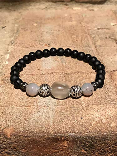 Black and Grey Onyx with Moonstone Nugget Stretch Bracelet