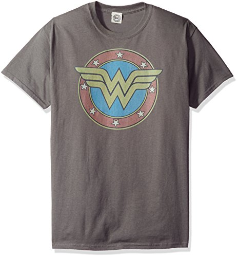 Wonder Woman Apparel (DC Comics Men's Wonder Woman Short Sleeve T-Shirt, Emblem Charcoal,)