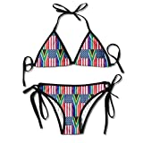 Fashion Sexy Women's South Africa and American Flag Printing Bikini Set Adjustable Bathing Suits