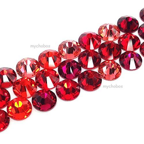 144 Swarovski 2058 / 2088 crystal flat backs No-Hotfix rhinestones RED Colors Mix ss20 (4.7mm)