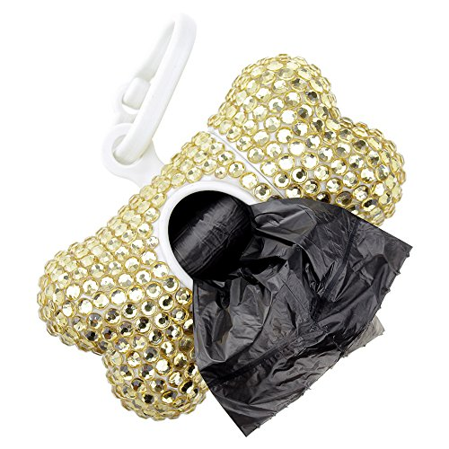 SAVORI Handmade Sparkling Crystal Rhinestones Removable Bone Shape Dispenser Includes One Roll Waste Bags (Light gold)