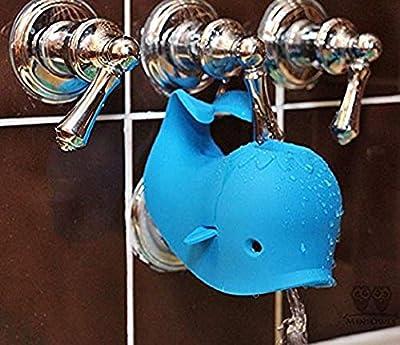 B.N.D TOP Faucet Cover Moby Bath Spout Cover Universal Fit, Blue Whale Bath Toys for Baby Bath tub Safety Faucet Extender Faucet Protector