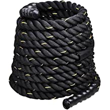 ValueBox 1.5 2 inch Battle Rope Exercise Workout Fitness (Black & Golden, 1.5 inch x 30 ft)