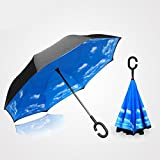 Blue Sky Creative Inverted Umbrella Double Layer Reversible Umbrella C-Shaped Handle Windproof UV protection Car Rain Outdoor travel