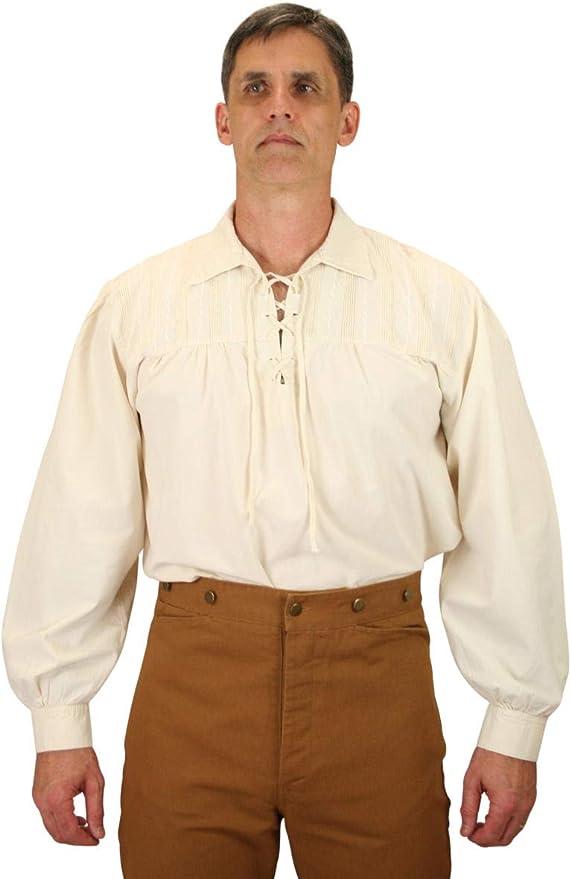 Victorian Men's Shirts- Wingtip, Gambler, Bib, Collarless Historical Emporium Mens Frontiersman Cotton Work Shirt $66.95 AT vintagedancer.com