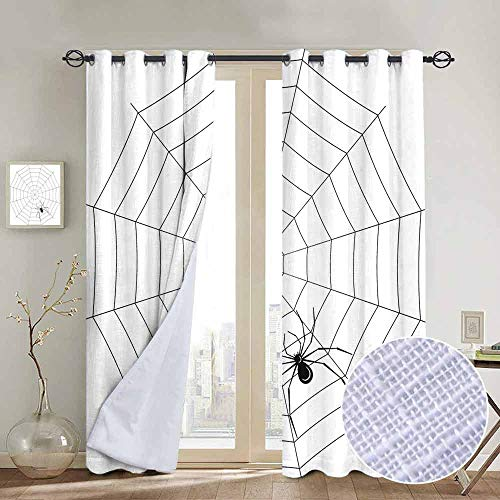 NUOMANAN Blackout Curtains 2 Panels Spider Web,Toxic Poisonous Insect Thread Crawly Malicious Bug Halloween Character Design,Black White,for Room Darkening Panels for Living Room, Bedroom -