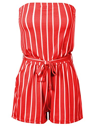 BEYONDFAB Women's Pinstripe Printed Tube Romper Summer Jumper with Belt Coral S