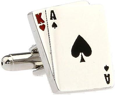 MRCUFF Ace King Blackjack Big Slick Tarjetas Poker par Gemelos en ...