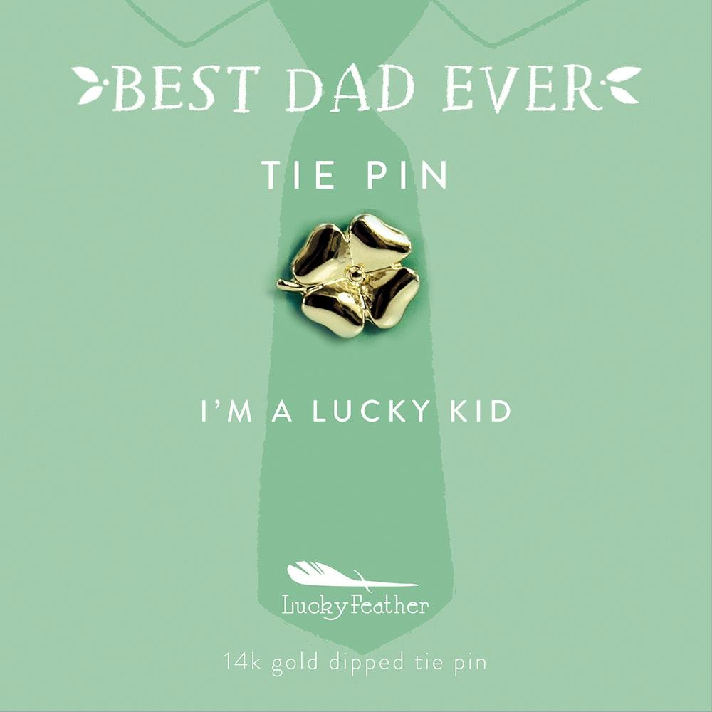 """Lucky Feather BEST DAD EVER Father's Day gift Clover Tie Pin 14k gold dipped Mint Green Card reads: """"I'M A LUCKY KID!"""""""