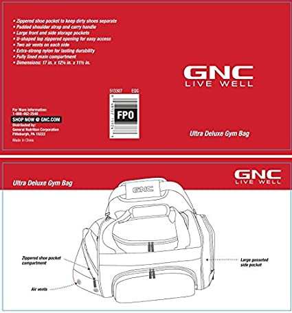 b5b67106ccf4 Amazon.com  GNC Ultra Deluxe Gym Bag