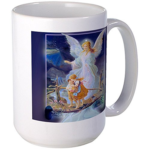 CafePress - Guardian Angel With Children Crossing Bridge Mugs - Coffee Mug, Large 15 oz. White Coffee - Large Angel Mug