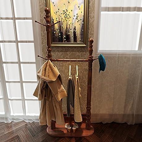 Solid Wood Coat Rack Double Living Room Bedroom Clothes Rack Style Hangers Begonia