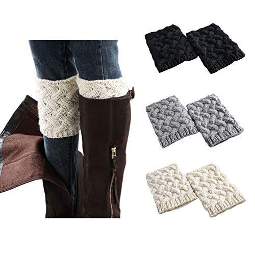 Jiuhong 3 Pairs Women Winter Warm Crochet Knitted Boot Cuff Sock Short Leg Warmer (Style 3) from Jiuhong