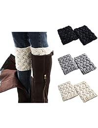 3 Pairs Women Winter Warm Crochet Knitted Boot Cuff Sock...