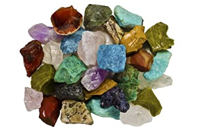Fantasia Materials: Bulk Rough Madagascar Stone Mix - Raw Natural Crystals and Rocks for Cabbing, Cutting, Lapidary, Tumbling, Polishing, Wire Wrapping, Wicca & Reiki Healing