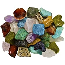 Fantasia Materials: 1 Pound of Bulk Rough Madagascar Stone Mix - Raw Natural Crystals and Rocks for Cabbing, Cutting, Lapidary, Tumbling, Polishing, Wire Wrapping, Wicca & Reiki Healing
