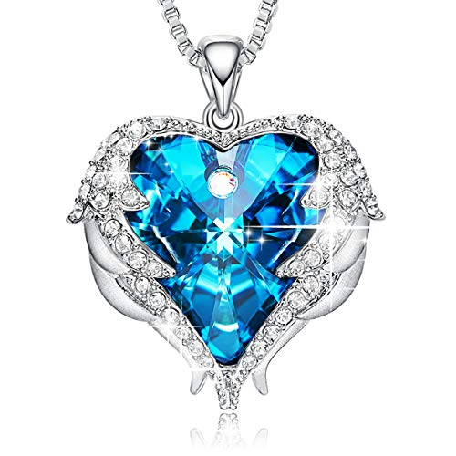 - CDE Angel Wing Necklaces for Women Embellished with Crystals from Swarovski Pendant Necklace Heart of Ocean Jewelry Gift for Mom
