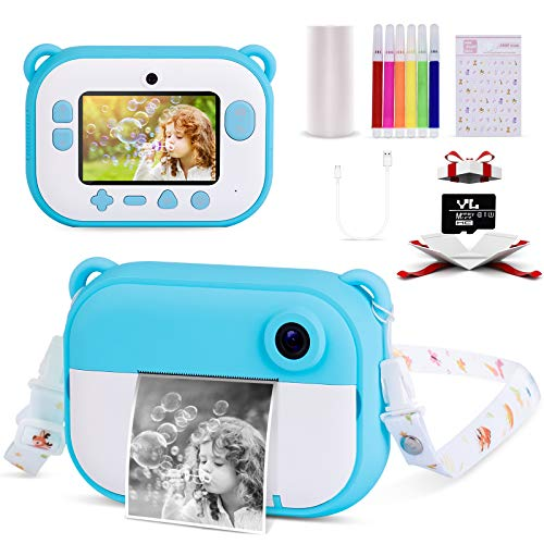 Instant Camera for Kids 2.4inches IPS Screen,1080 HP Video Recorder, Kids Camera Digital Ink Print Children Camera with…