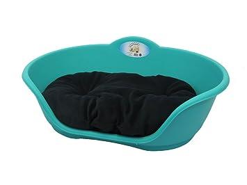 Perro cama cojín de color azul de plástico con negro/grande resistente – cama de