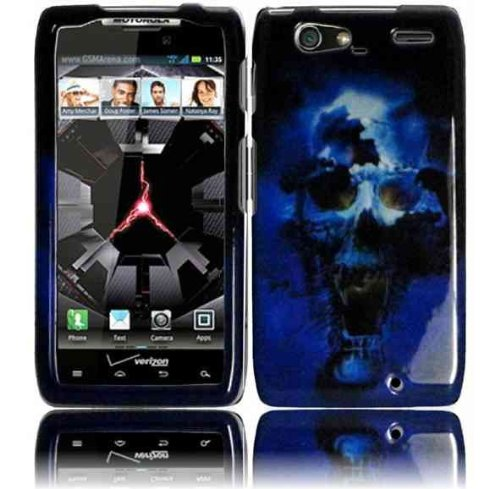 azr Maxx XT916 Accessory -Blue Skull Design Hard Protective Case Cover + Lf Stylus Pen (Motorola Razr Snap Cases)