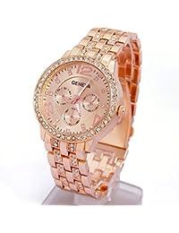 Classic Wrist Watch Geneva Metal Bracelet Watch Rhinestones Unisex Crystal Round Quartz Leisure Watches with Alloy Band by AENMIL (Rose Gold)