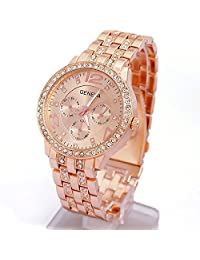 "Aenmil® Battery Powerd 35mm/1.4"" Dial Diameter Bracelet Watch Analog Accurate Time Quartz Wrist Boy Watch with Bling Handmade Rhinestones for Women and Men (Rose Gold)"