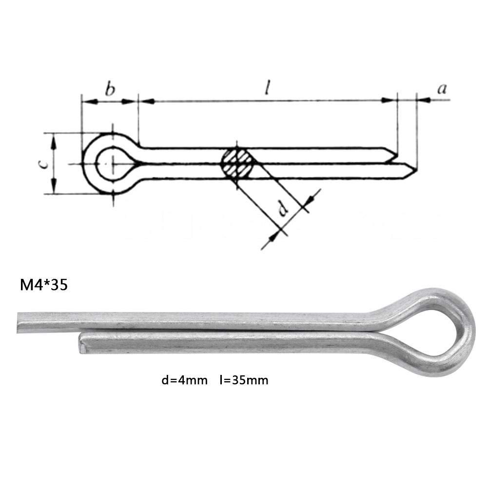 Splint M4*25(50pcs) 50pcs 4 mm GB Standard-Verzinkung Splint-Sortiment Befestigungssatz-Set