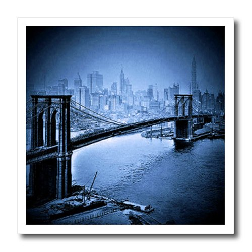 3dRose ht_21673_1 Vintage 1915 Brooklyn Bridge in Blue Iron on Heat Transfer for White Material, 8 by 8-Inch (Brooklyn Bridge 1)
