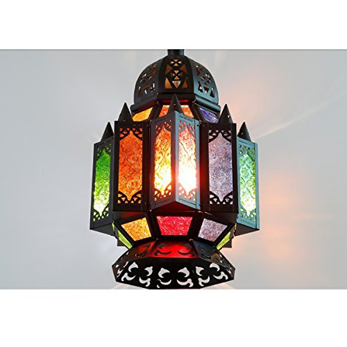 Moroccan Iron Candlestick Colorful Glass Candle Lanterns European style Hanging For Outdoor Indoor Wedding Home -
