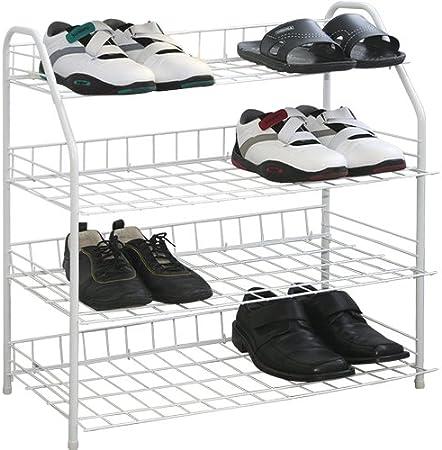 Étagère à chaussures 4 niveaux fil blanc taille L Rangement