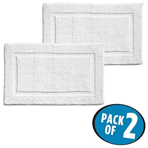 mDesign Soft 100% Cotton Luxury Hotel-Style Rectangular Spa Mat Rug, Plush Water Absorbent, Decorative Border - for Bathroom Vanity, Bathtub/Shower, Machine Washable - Pack of 2, White by mDesign (Image #1)