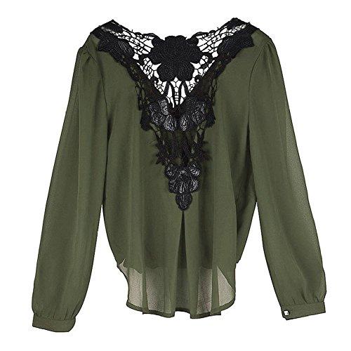 Manche Chemisier Minetom Dos Top Col Elegant Longue Floral Vert Nu V Femme Dentelle Blouse wx4dHFt4