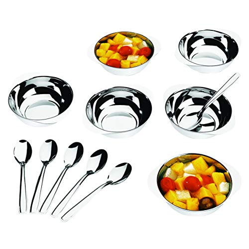 BRINOX- 1638/112 Stainless Steel Ice Cream or Dessert Bowl Set with Spoon- Set of 12 (Short)
