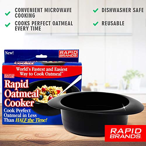 Rapid Oatmeal Cooker | Microwave Instant or Old-Fashioned Oats in 2 Minutes | Perfect for Dorm, Small Kitchen, or Office | Dishwasher-Safe, Microwaveable, & BPA-Free (2 pack)