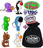 Hog Wild Keychain Poppers (Series 2) Unicorn, Sea Horse, Orca Whale, Squirrel, Shark & Octopus Party Set Bundle with Exclusive Matty's Toy Stop Storage Bag - 6 Pack