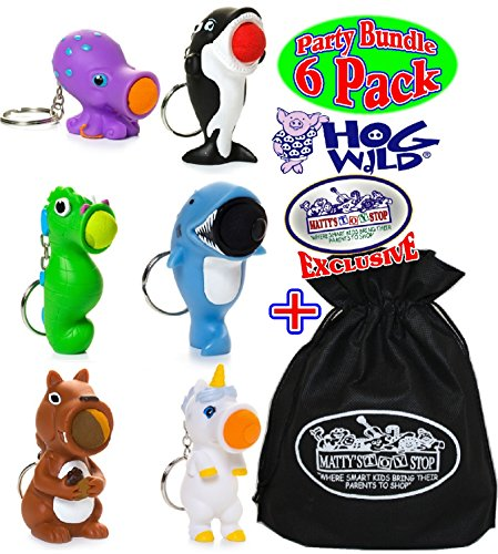 Hog Wild Keychain Poppers (Series 2) Unicorn, Sea Horse, Orca Whale, Squirrel, Shark & Octopus Party Set Bundle with Exclusive Matty's Toy Stop Storage Bag - 6 Pack by Hog Wild
