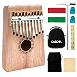 CASCHA Kalimba 10 Key, Mahogany, Thumb Piano with Case, Carrying Bag, Cleaning Cloth, Tuning Hammer, Key Stickers, Thumb Caps, Percussion Instrument
