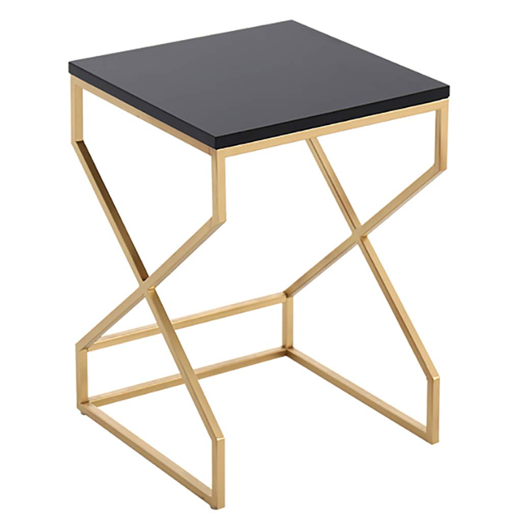 Black 35cm Nightstand Accent Table Snack Coffee with Metal Frame Multipurpose MDF for Small Space Parlor Bedroom White