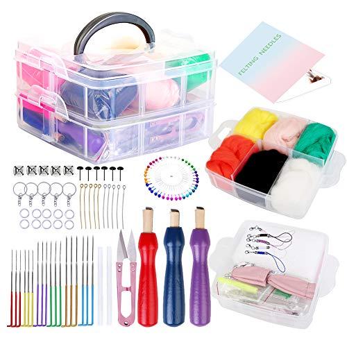 117 Pieces Needle Felting Kit, Needle Felting Supplies, with Felting Needles, Needle Felting Tools, 6 Color Wool Roving for Needle Felting Felting Starter Kit